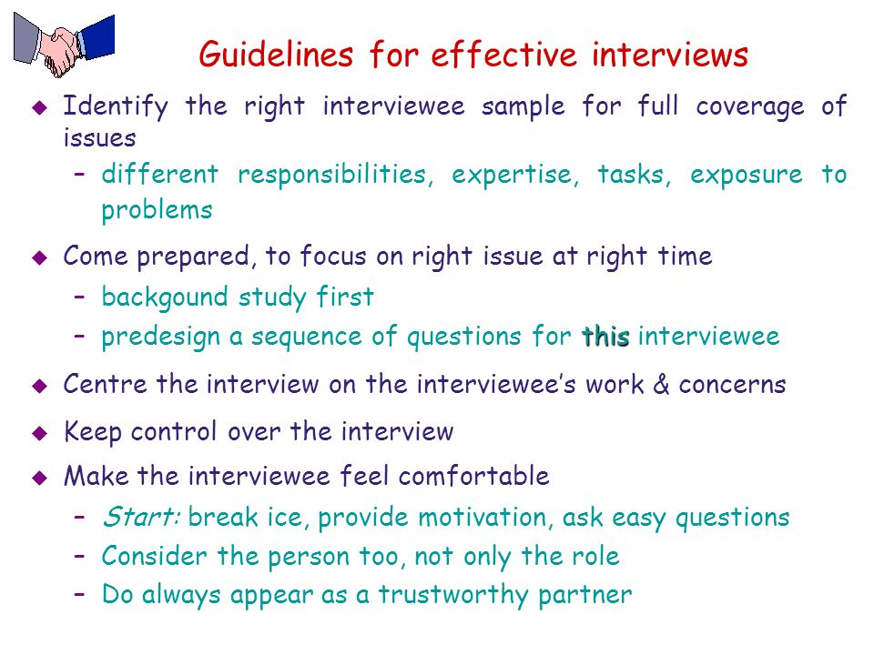 Guidelines for effective interviews