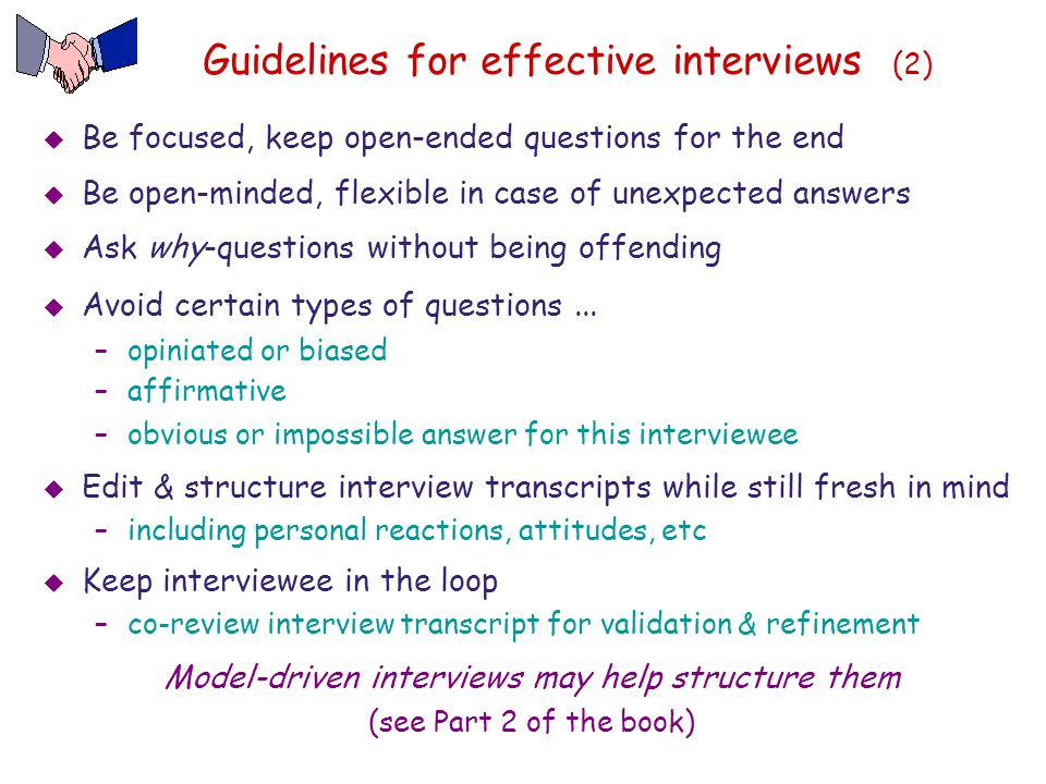 Guidelines for effective interviews (2)