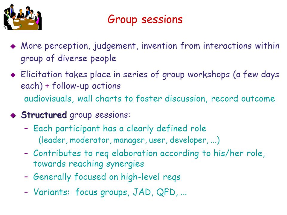 Group sessions More perception, judgement, invention from interactions within group of diverse people.