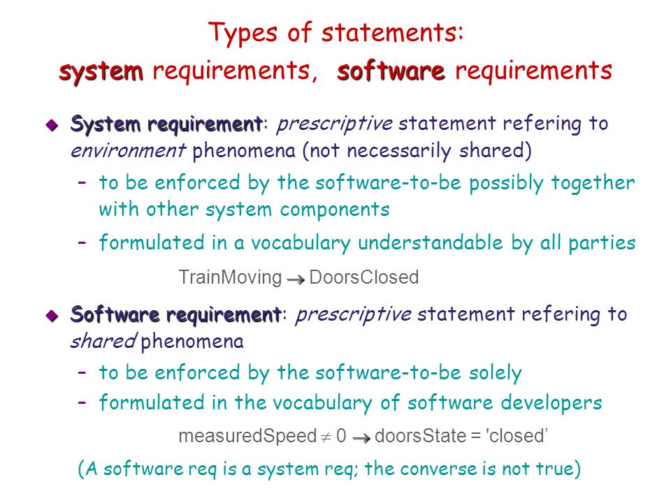 Types of statements: system requirements, software requirements