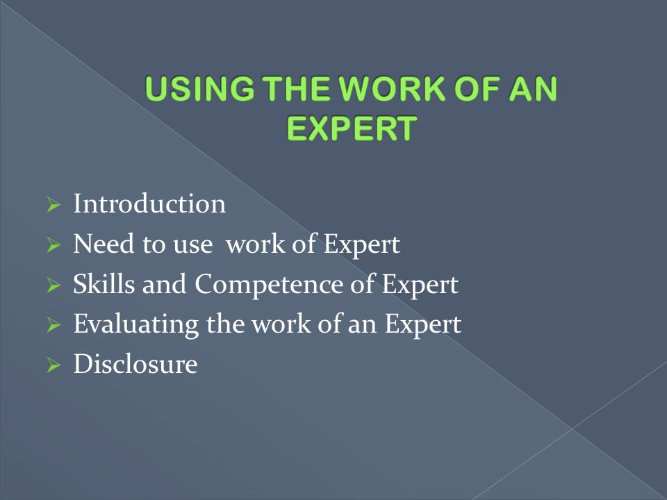 USING THE WORK OF AN EXPERT