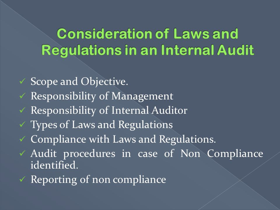 Consideration of Laws and Regulations in an Internal Audit