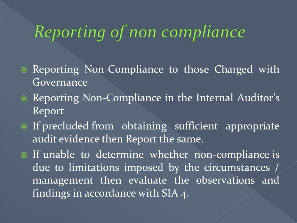 Reporting of non compliance