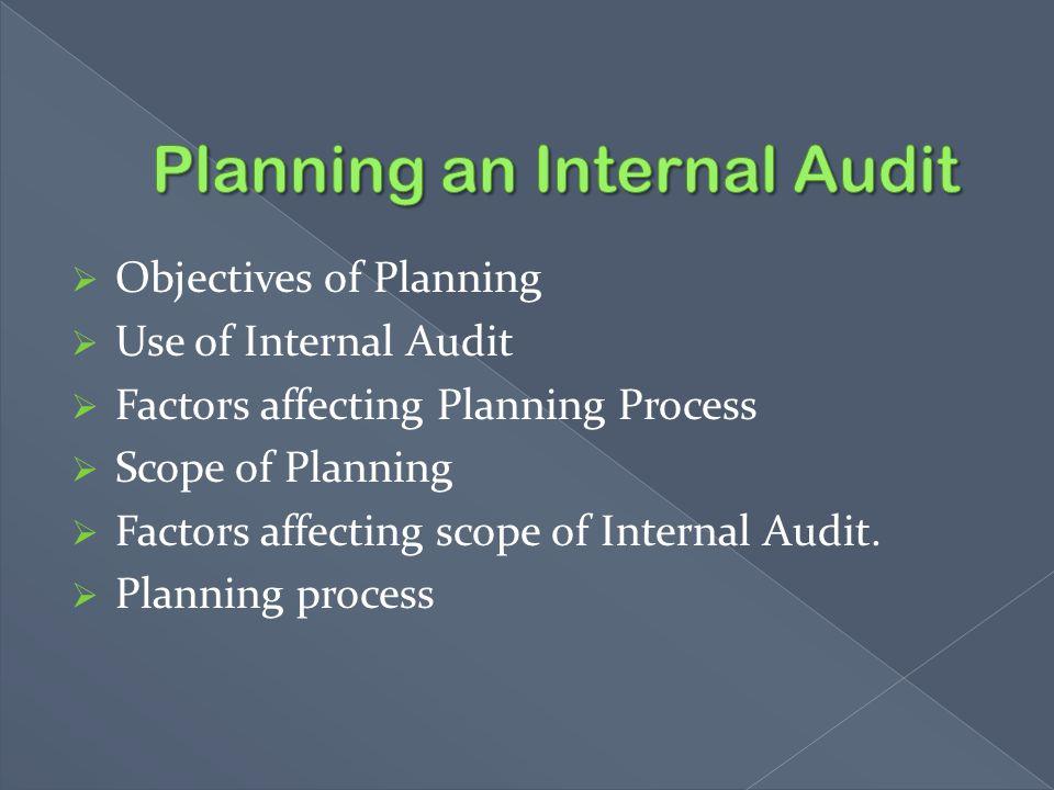 Planning an Internal Audit