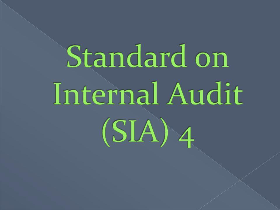 Standard on Internal Audit (SIA) 4