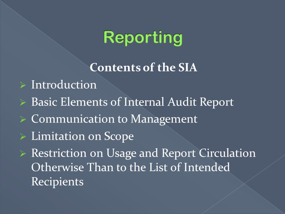 Reporting Contents of the SIA Introduction