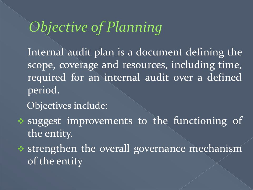 Objective of Planning