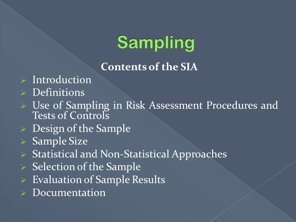 Sampling Contents of the SIA Introduction Definitions