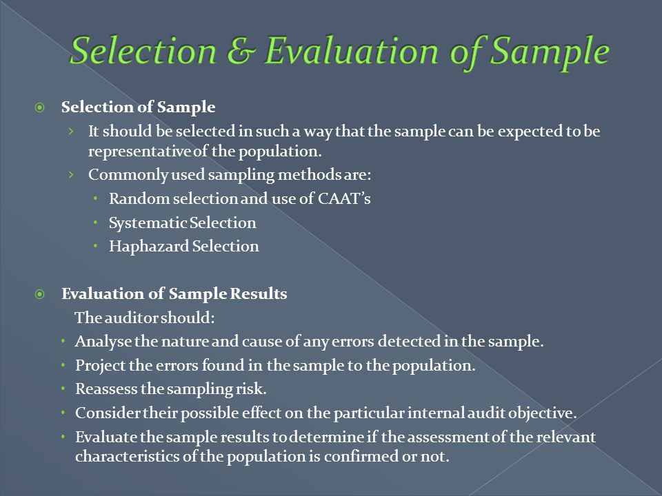 Selection & Evaluation of Sample