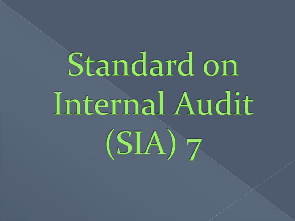 Standard on Internal Audit (SIA) 7