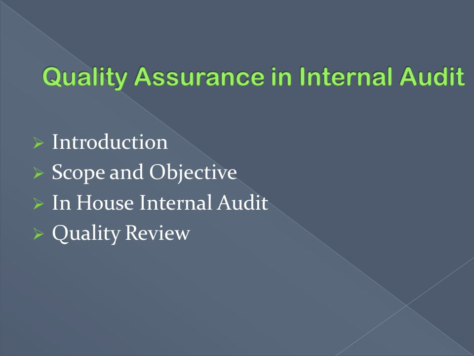 Quality Assurance in Internal Audit