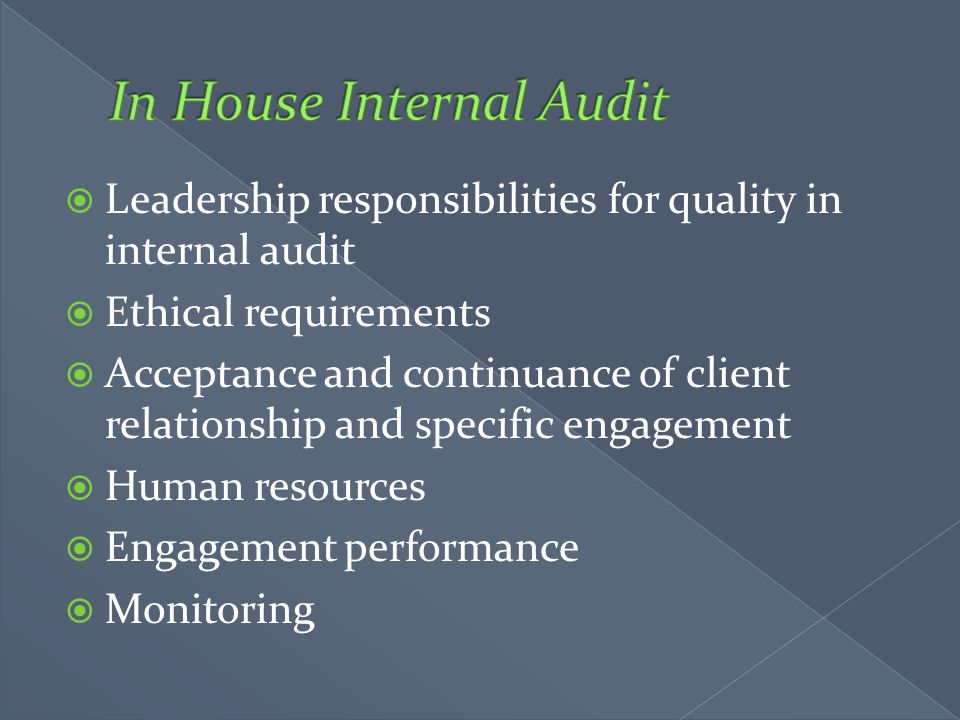 In House Internal Audit