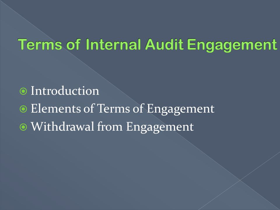 Terms of Internal Audit Engagement