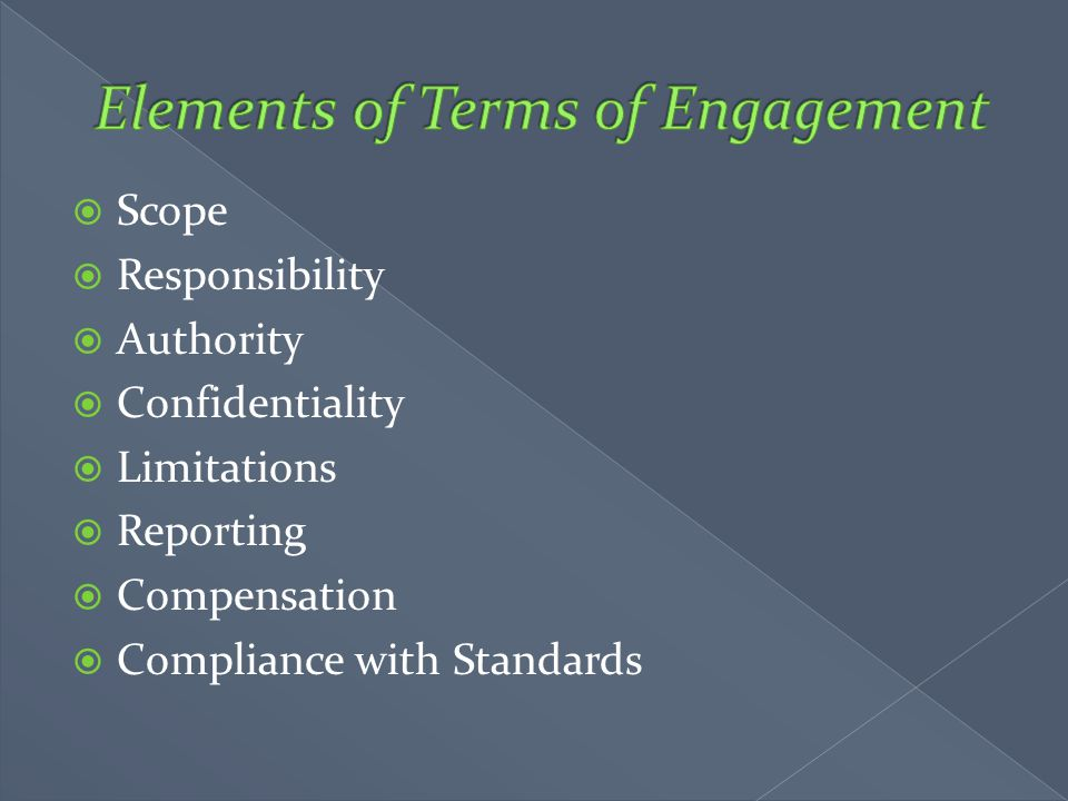 Elements of Terms of Engagement