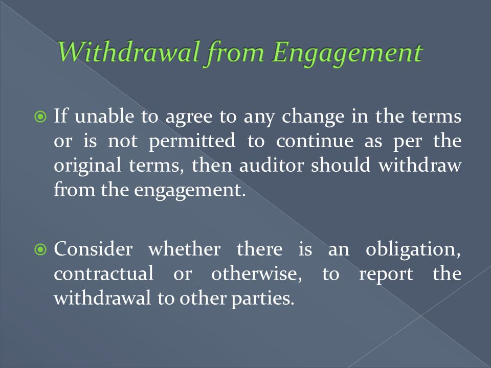 Withdrawal from Engagement
