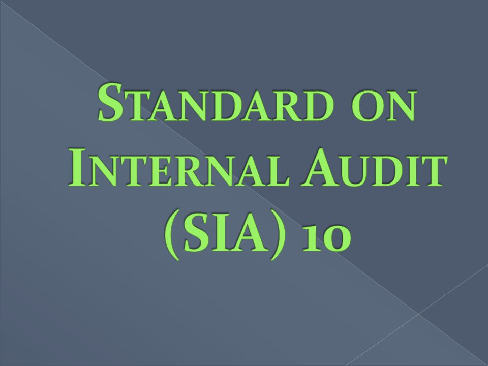 Standard on Internal Audit (SIA) 10