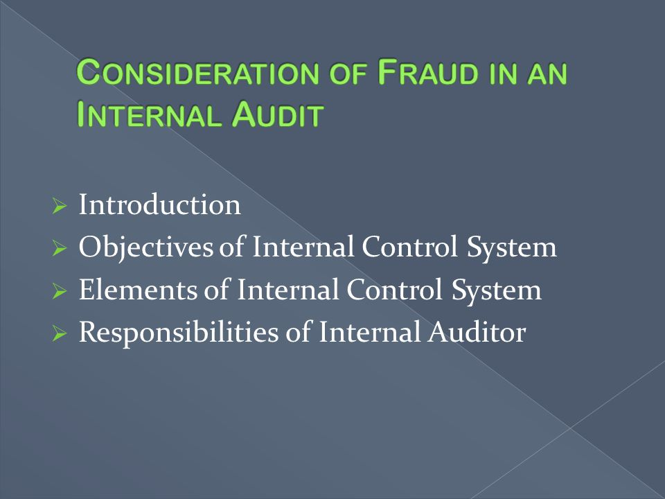 Consideration of Fraud in an Internal Audit