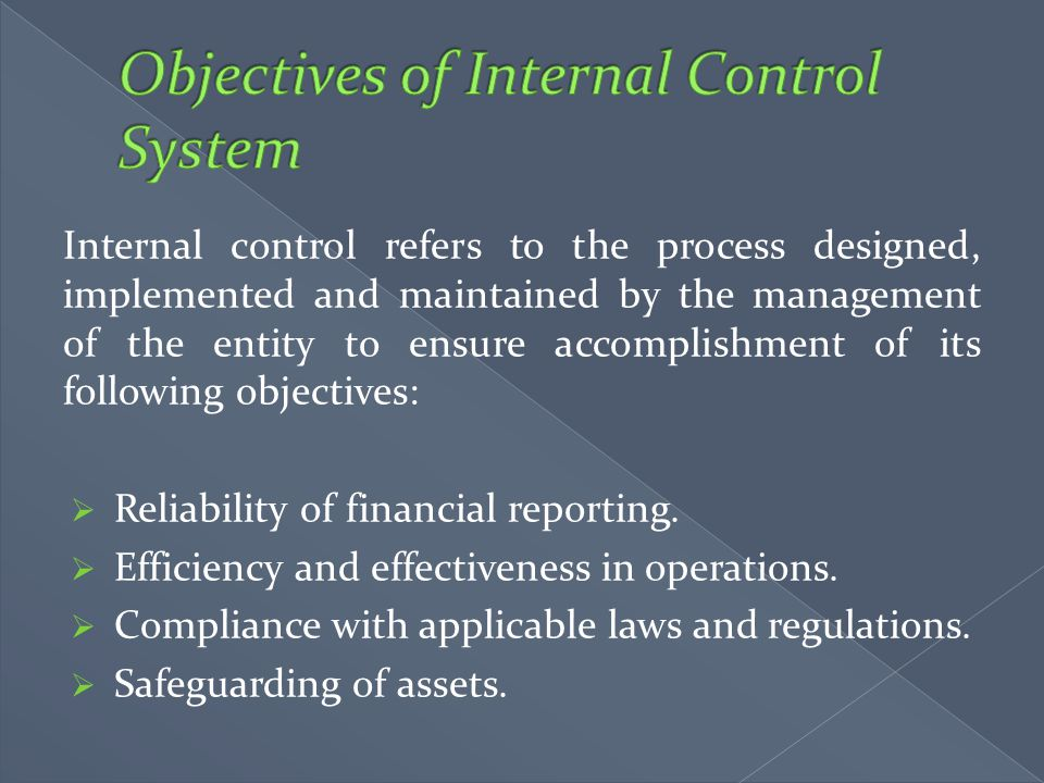 Objectives of Internal Control System