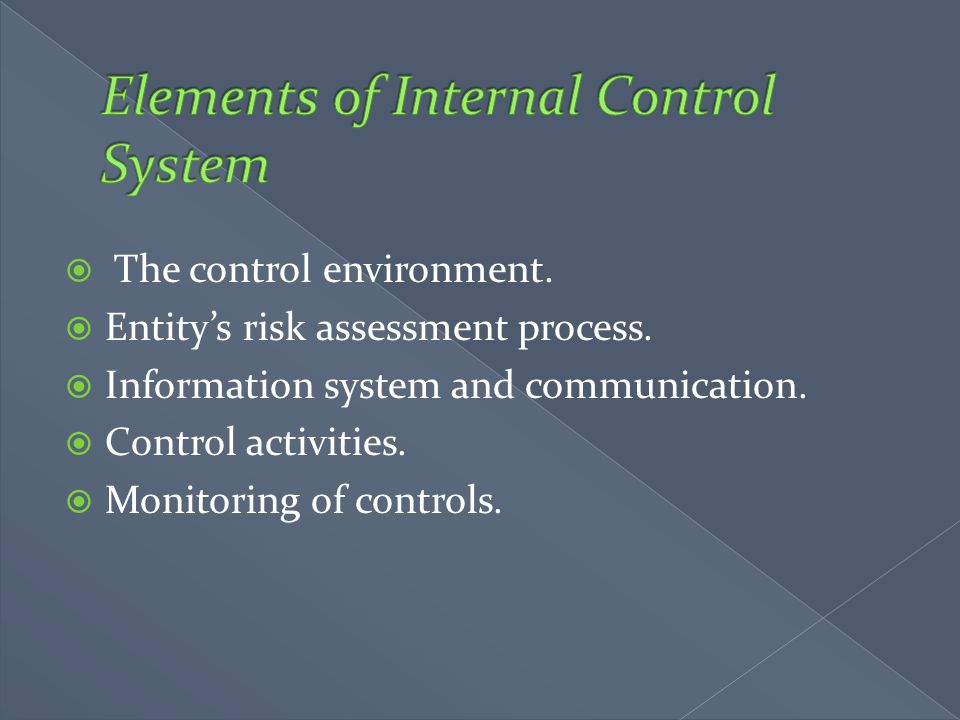 Elements of Internal Control System