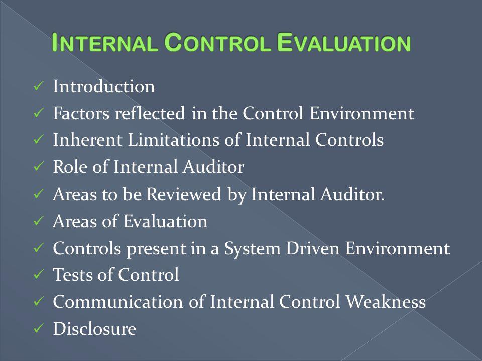 Internal Control Evaluation