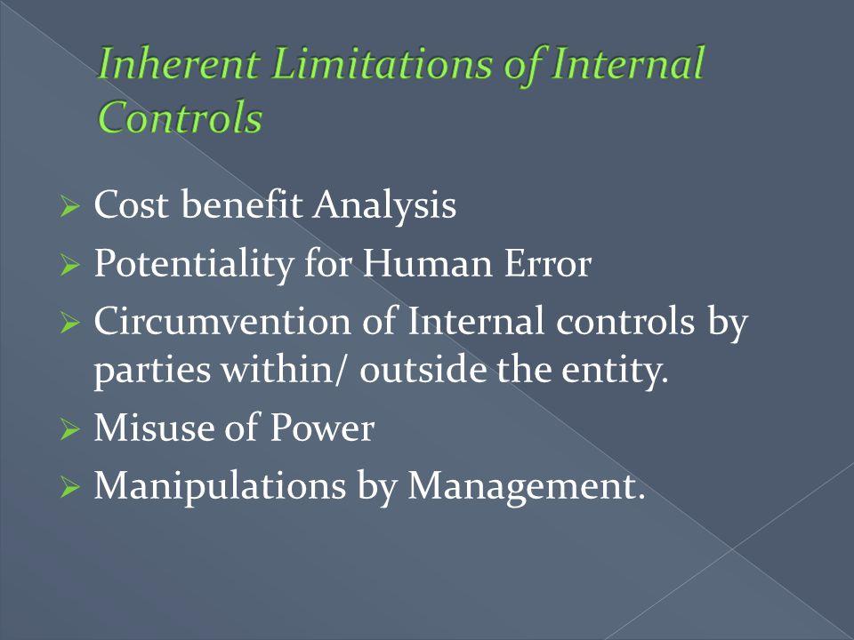 Inherent Limitations of Internal Controls