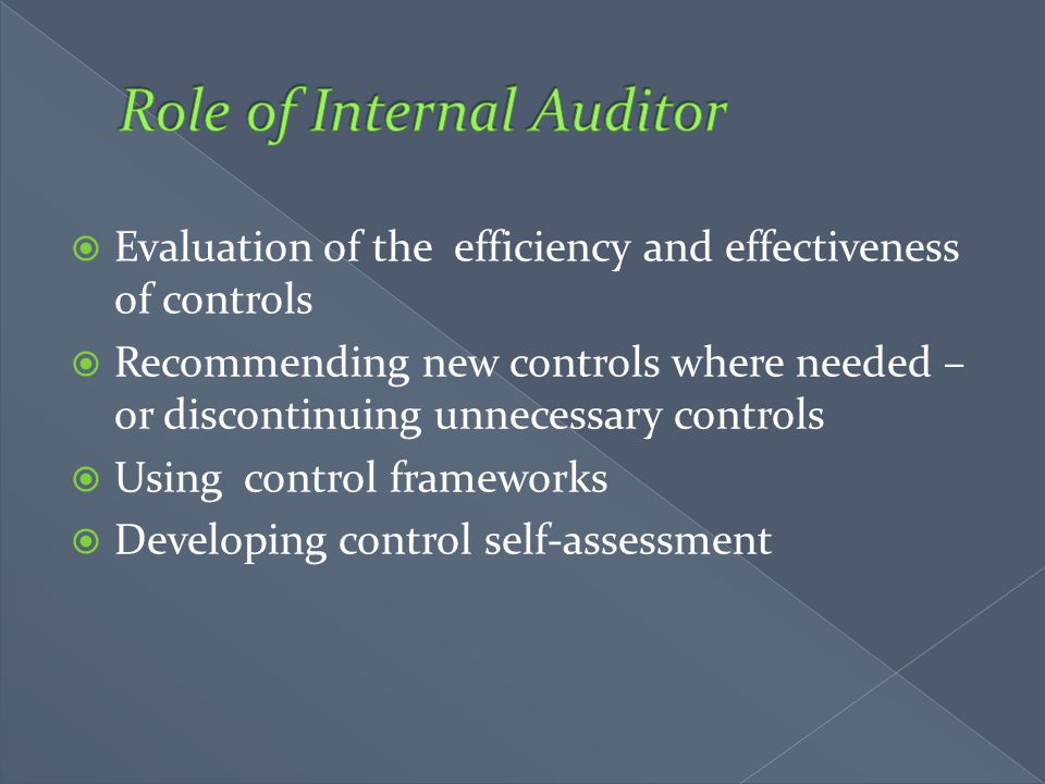 Role of Internal Auditor