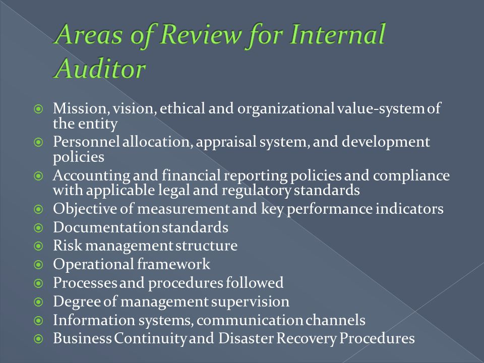 Areas of Review for Internal Auditor