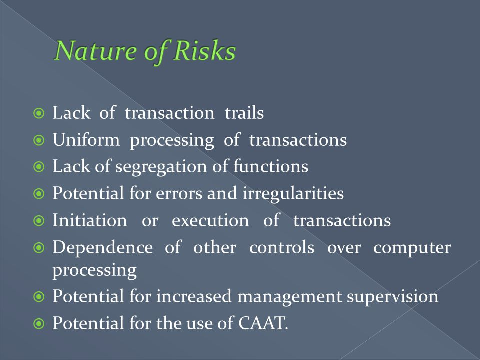 Nature of Risks Lack of transaction trails