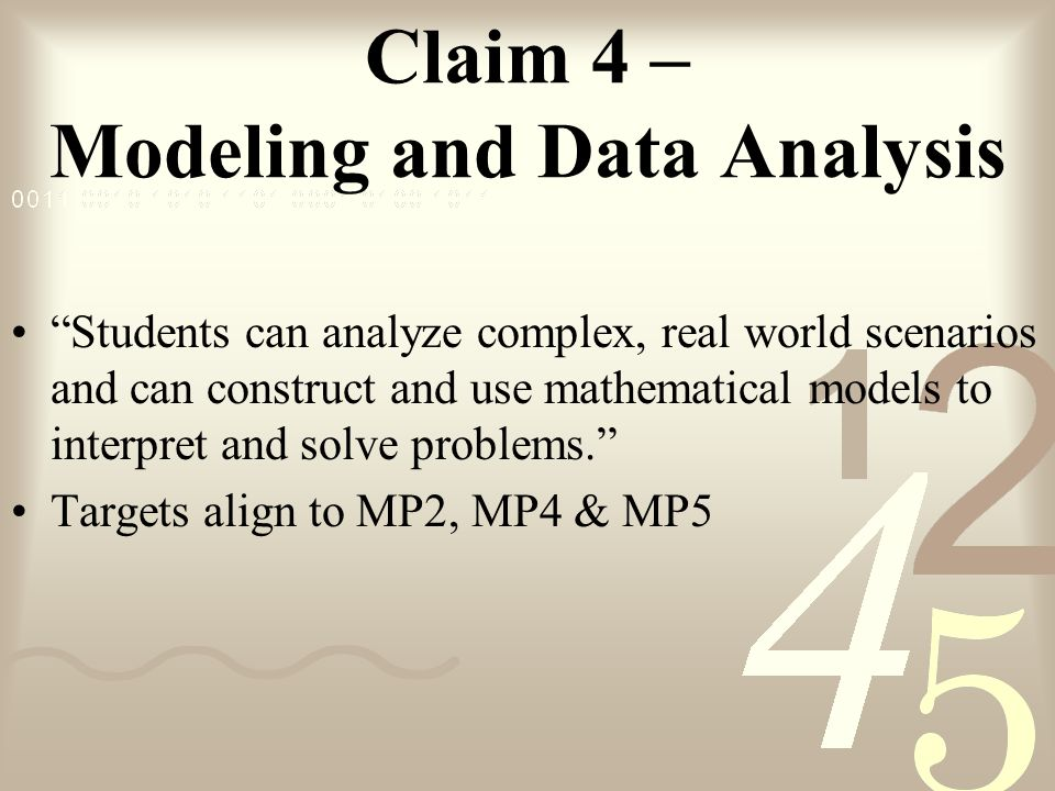 Claim 4 – Modeling and Data Analysis