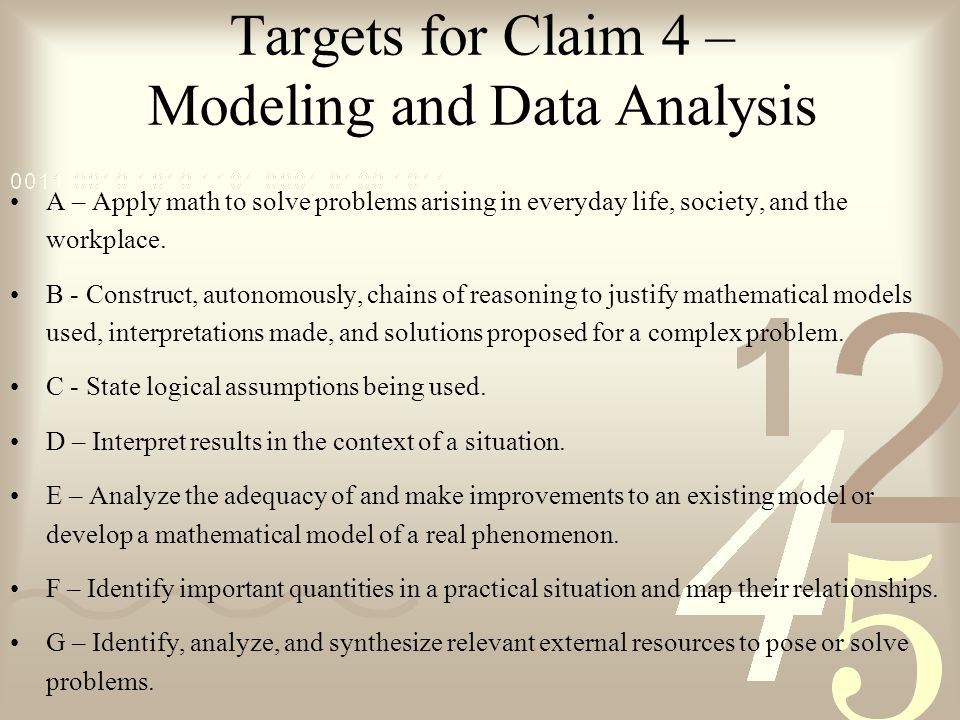 Targets for Claim 4 – Modeling and Data Analysis