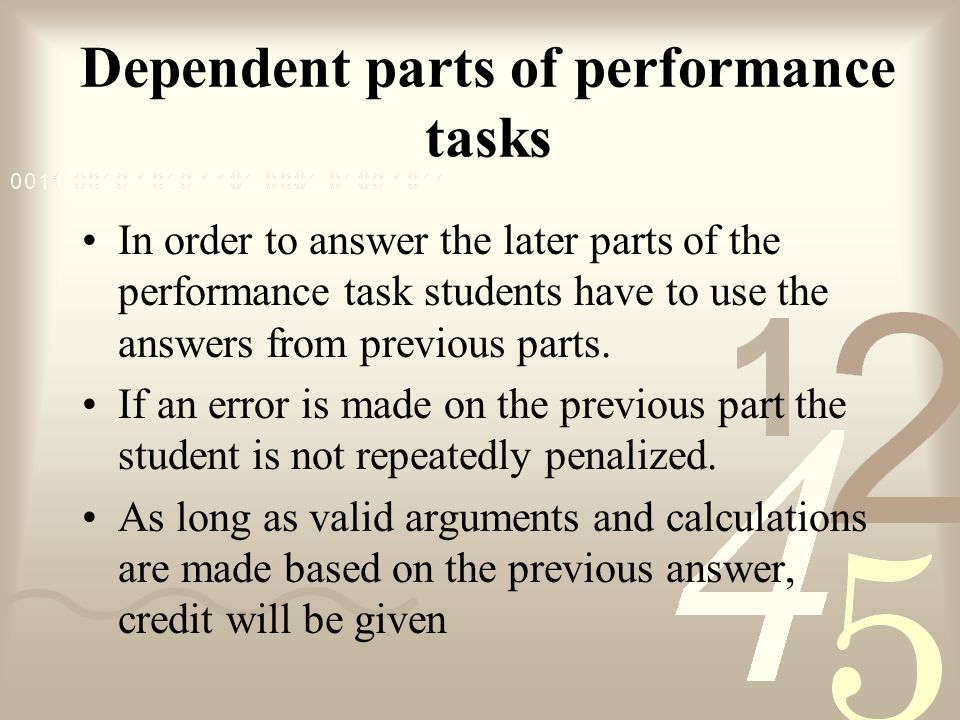 Dependent parts of performance tasks