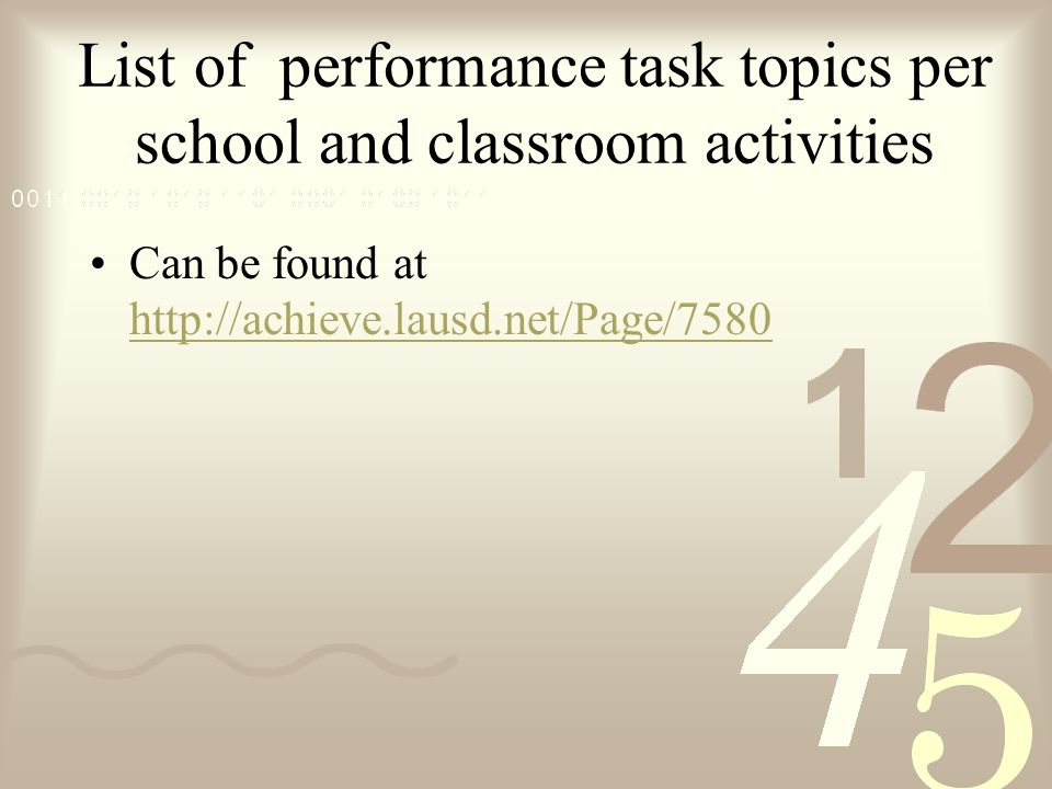 List of performance task topics per school and classroom activities