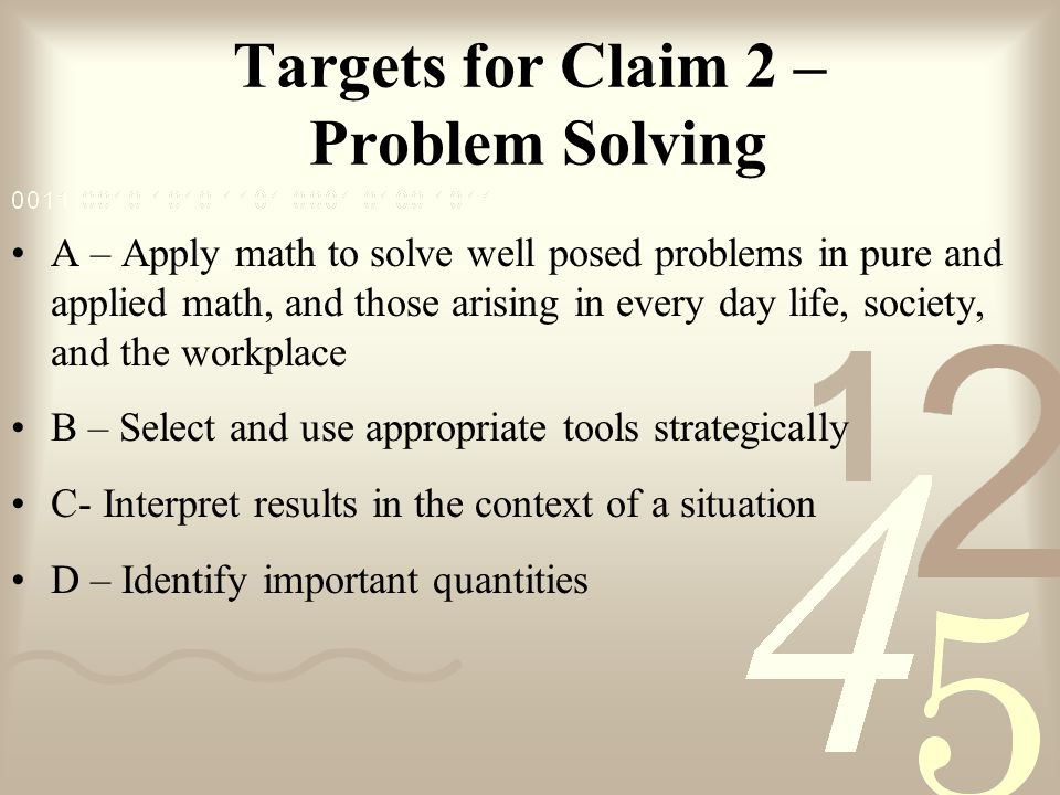 Targets for Claim 2 – Problem Solving
