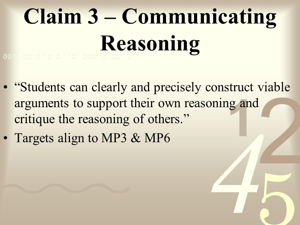 Claim 3 – Communicating Reasoning
