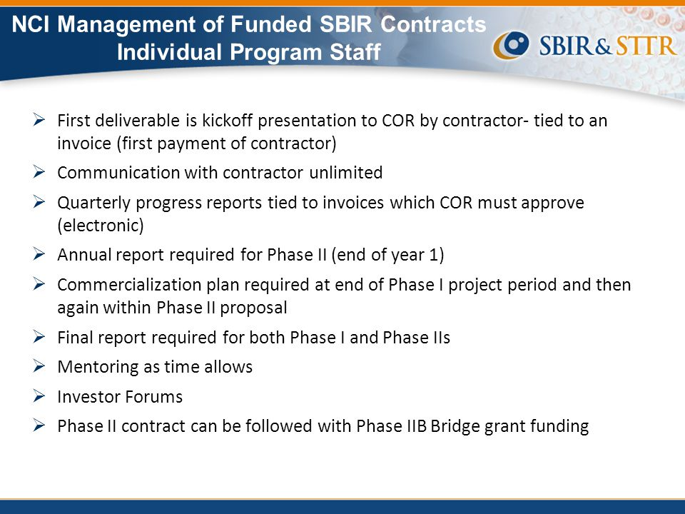 NCI Management of Funded SBIR Contracts Individual Program Staff