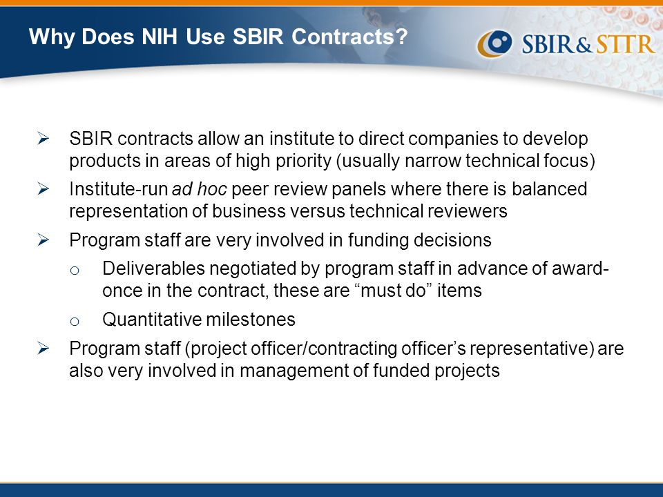 Why Does NIH Use SBIR Contracts