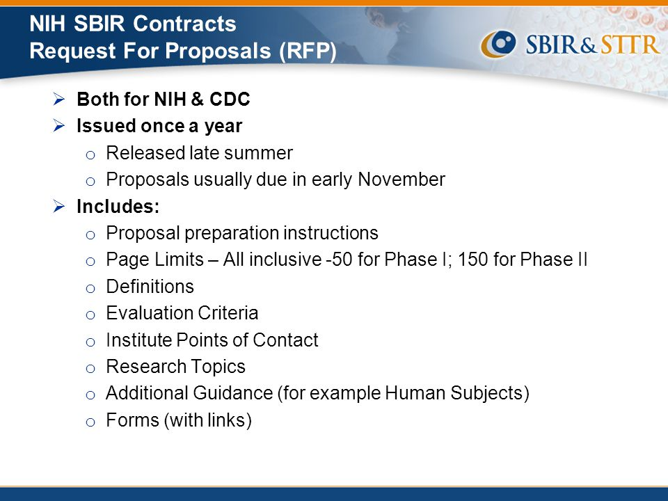 NIH SBIR Contracts Request For Proposals (RFP)