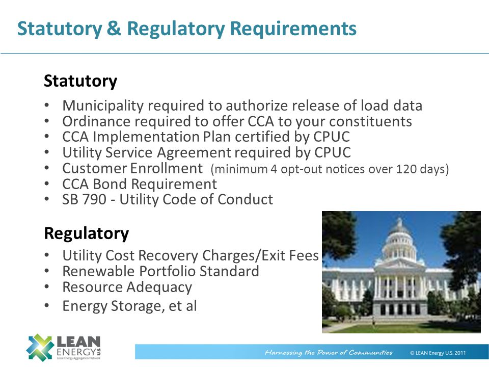 Statutory & Regulatory Requirements