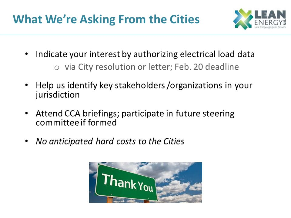 What We're Asking From the Cities
