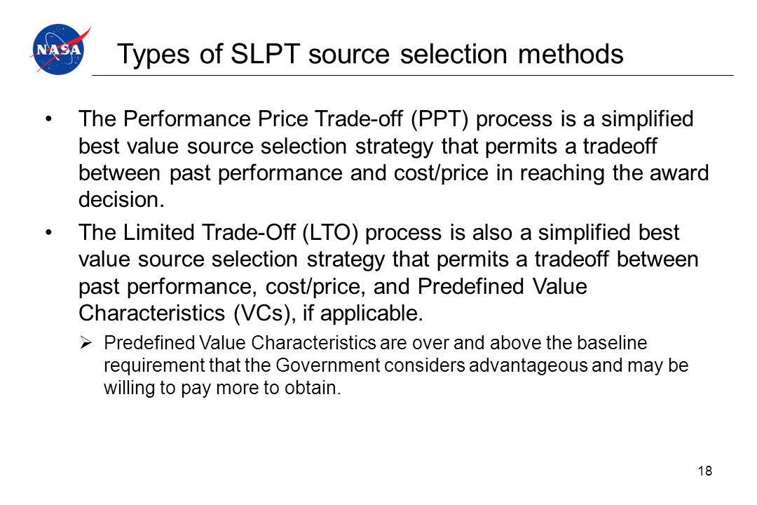 Types of SLPT source selection methods