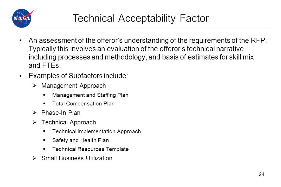 Technical Acceptability Factor