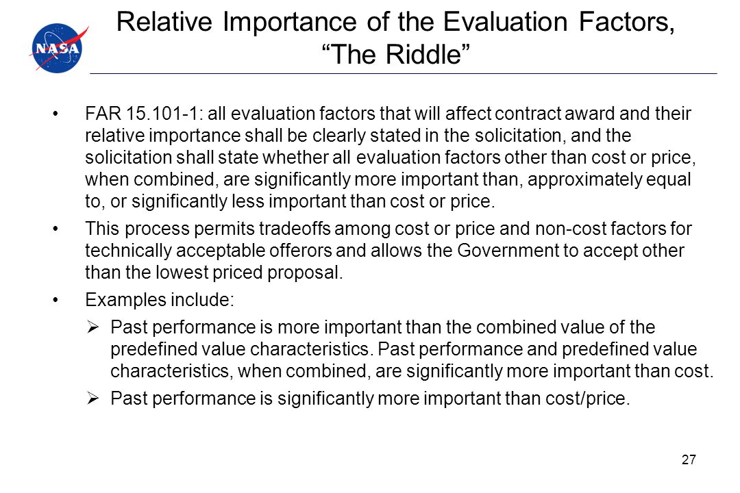 Relative Importance of the Evaluation Factors, The Riddle