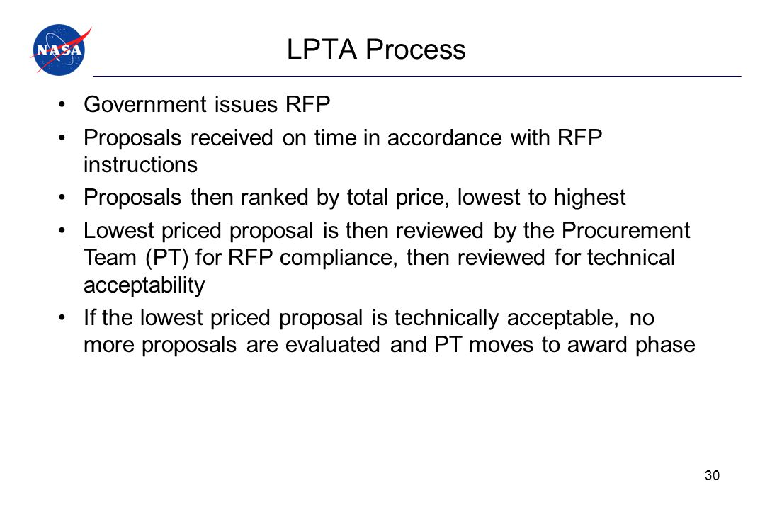LPTA Process Government issues RFP