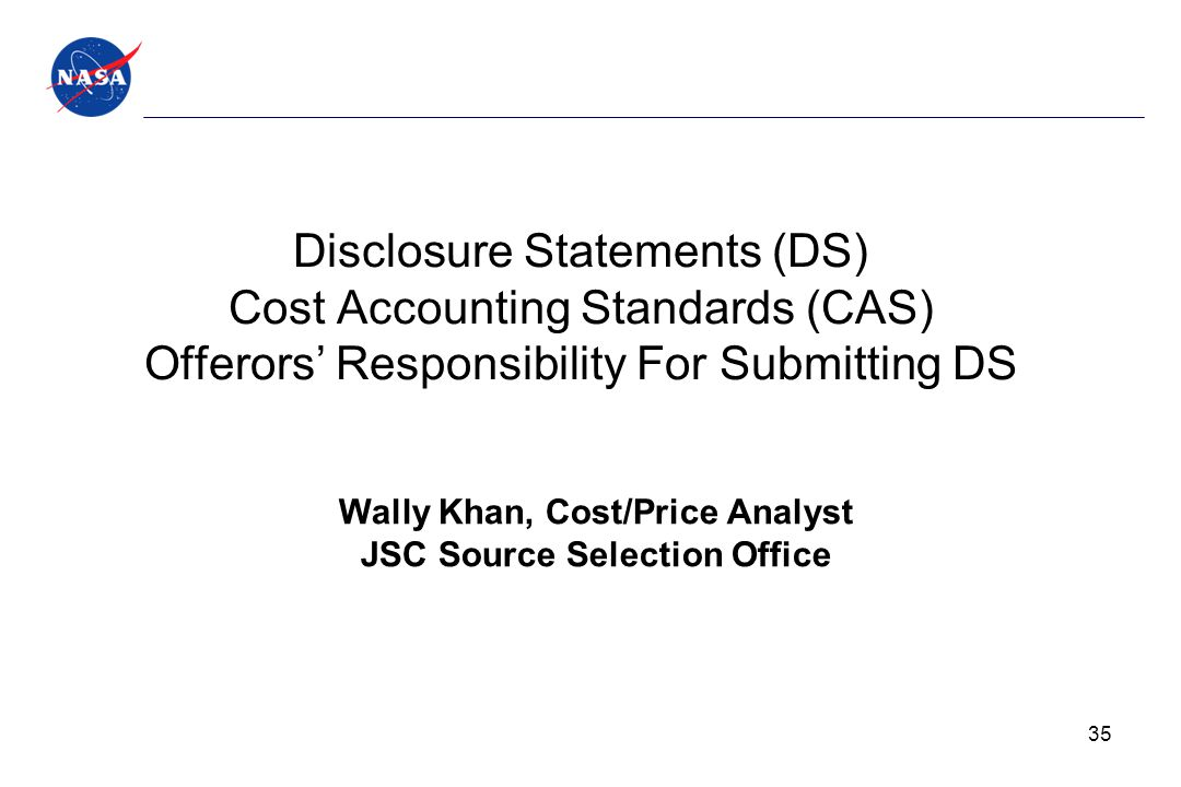 Wally Khan, Cost/Price Analyst JSC Source Selection Office