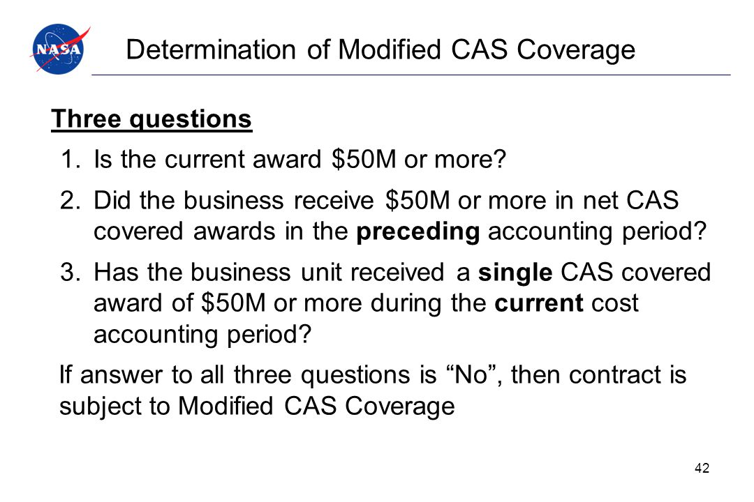Determination of Modified CAS Coverage