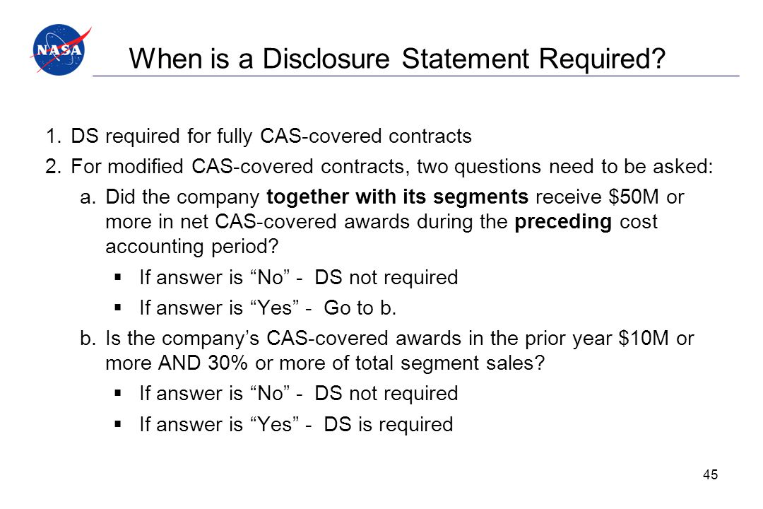 When is a Disclosure Statement Required
