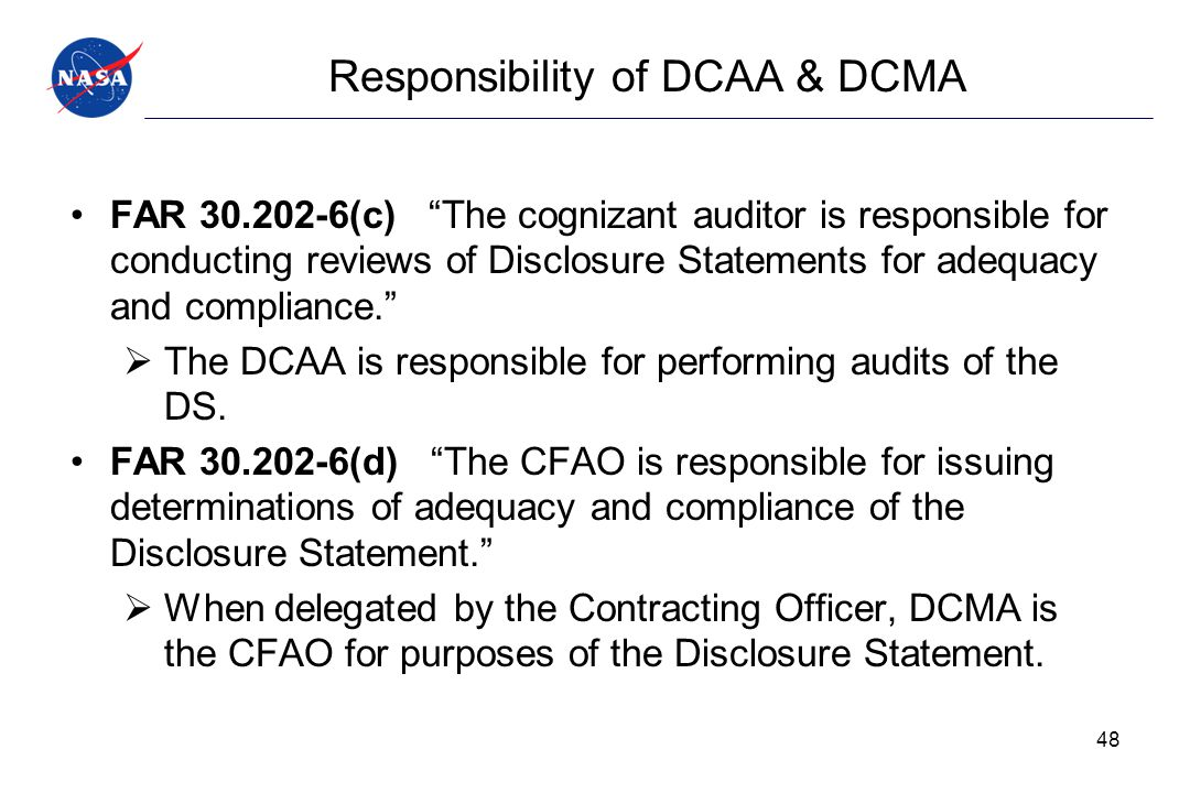 Responsibility of DCAA & DCMA