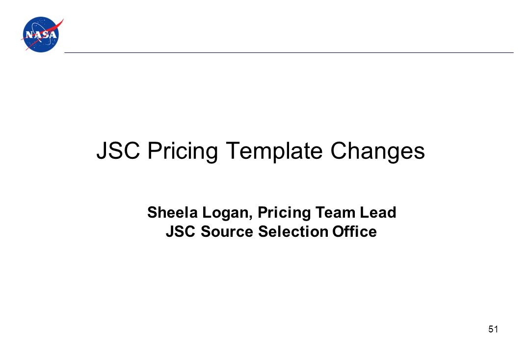 JSC Pricing Template Changes