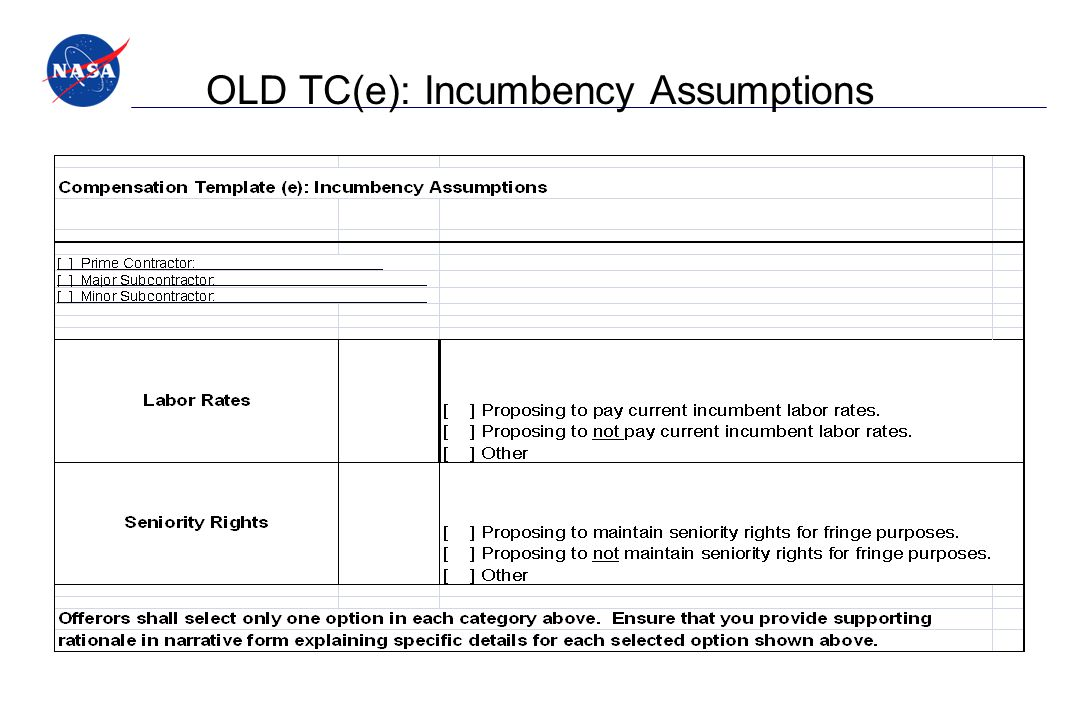 OLD TC(e): Incumbency Assumptions