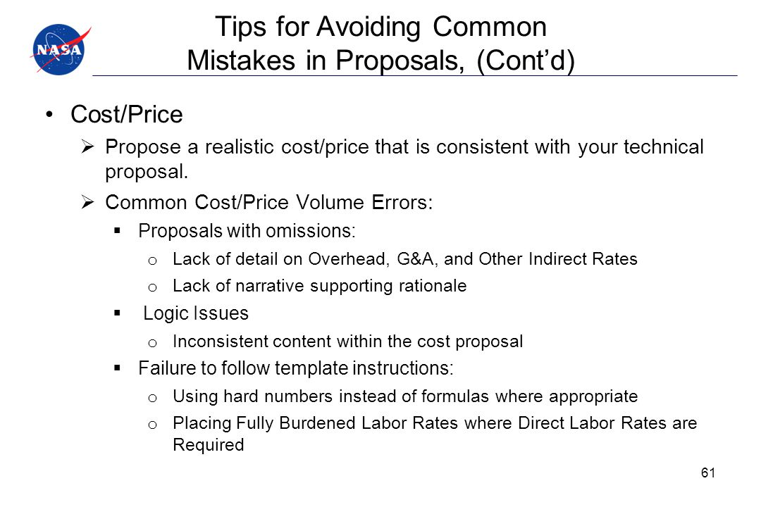 Tips for Avoiding Common Mistakes in Proposals, (Cont'd)